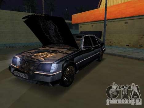 Mersedes-Benz W140 600SEL для GTA San Andreas вид сзади слева