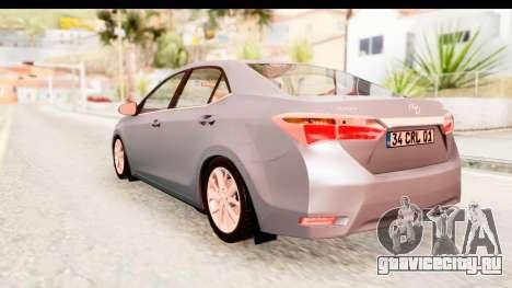 Toyota Corolla 2014 IVF для GTA San Andreas вид справа