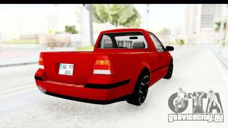 Volkswagen Golf Mk4 Pickup для GTA San Andreas вид сзади слева