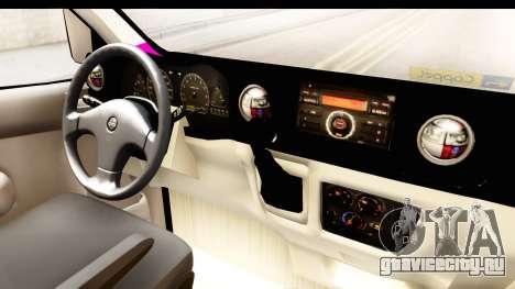 Nissan NV350 Urvan Comercial Mexicana для GTA San Andreas вид изнутри