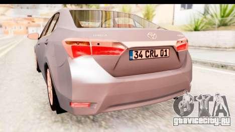 Toyota Corolla 2014 IVF для GTA San Andreas вид сбоку
