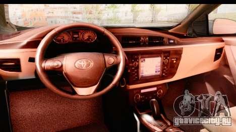 Toyota Corolla 2014 IVF для GTA San Andreas вид изнутри