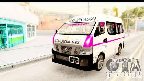 Nissan NV350 Urvan Comercial Mexicana для GTA San Andreas вид сзади слева