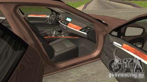 BMW X5M для GTA San Andreas вид изнутри
