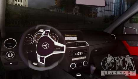 Mercedes-Benz C63 AMG w204 для GTA San Andreas вид изнутри