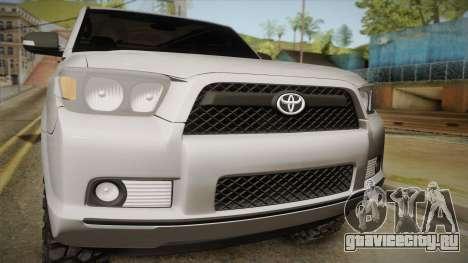 Toyota 4runner 2010 для GTA San Andreas вид сзади слева