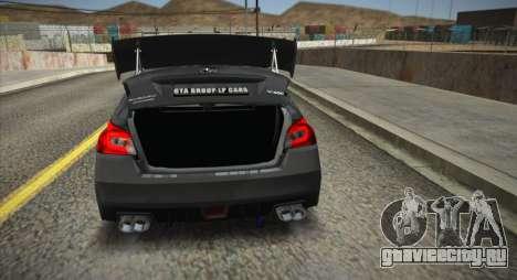 Subaru WRX STI LP400R 2016 для GTA San Andreas вид сзади слева