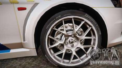 Mitsubishi Lancer Evo X Rendőrség для GTA San Andreas вид сзади слева