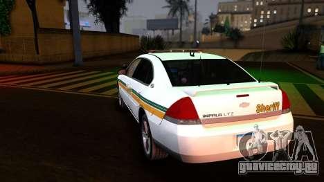 2008 Chevrolet Impala LTZ County Sheriff для GTA San Andreas вид сзади слева