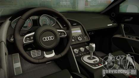 Audi R8 Coupe 4.2 FSI quattro EU-Spec 2008 для GTA San Andreas вид изнутри