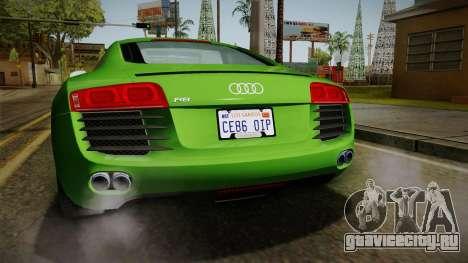 Audi R8 Coupe 4.2 FSI quattro EU-Spec 2008 для GTA San Andreas вид снизу