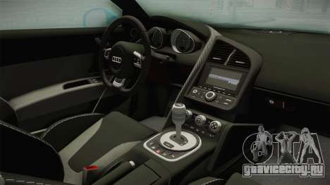 Audi R8 Coupe 4.2 FSI quattro US-Spec v1.0.0 v2 для GTA San Andreas вид изнутри
