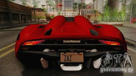 Koenigsegg Regera 2016 для GTA San Andreas вид сзади