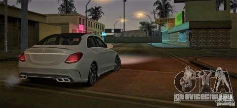 Mercedes-Benz C63 AMG W205 для GTA San Andreas вид сзади слева