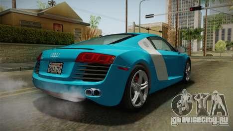Audi R8 Coupe 4.2 FSI quattro US-Spec v1.0.0 v2 для GTA San Andreas вид справа