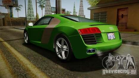 Audi R8 Coupe 4.2 FSI quattro EU-Spec 2008 для GTA San Andreas вид сзади слева