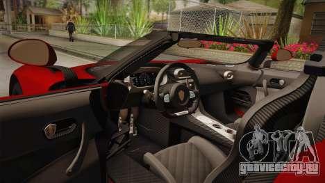 Koenigsegg Regera 2016 для GTA San Andreas вид изнутри