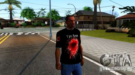 Black I am Fine T-Shirt для GTA San Andreas второй скриншот