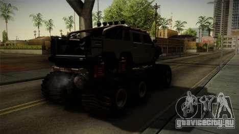 Hummer H2 6x6 Monster для GTA San Andreas вид сзади слева