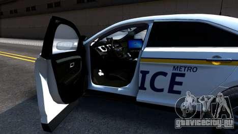 Ford Taurus Slicktop Metro Police 2013 для GTA San Andreas вид сзади