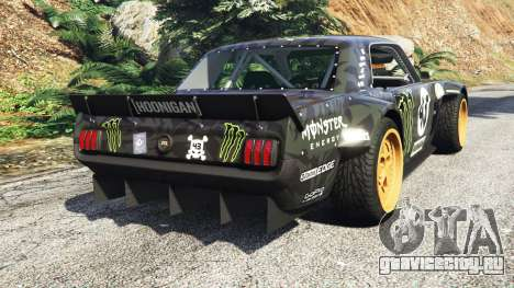 Ford Mustang 1965 Hoonicorn drift [add-on] для GTA 5 вид сзади слева