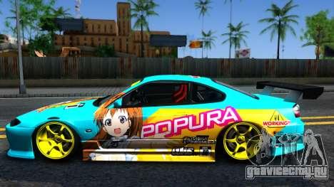 Taneshima Popura NISSAN Silvia S15 Itasha для GTA San Andreas вид слева