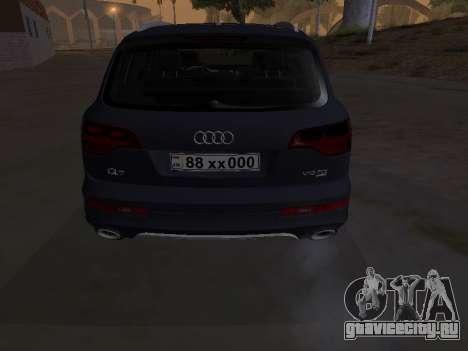 Audi Q7 Armenian для GTA San Andreas вид изнутри
