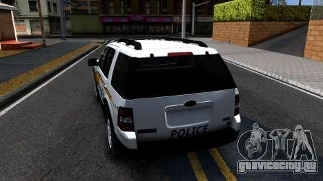 Ford Explorer Slicktop Metro Police 2010 для GTA San Andreas вид сзади слева
