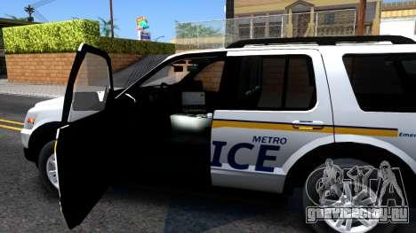 Ford Explorer Slicktop Metro Police 2010 для GTA San Andreas вид изнутри