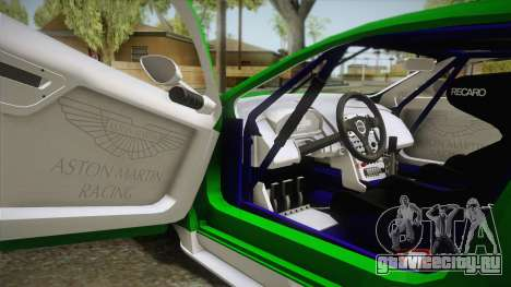 Aston Martin Racing DBR9 2005 v2.0.1 YCH Dirt для GTA San Andreas вид изнутри