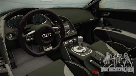 Audi R8 Coupe 4.2 FSI quattro US-Spec v1.0.0 для GTA San Andreas вид изнутри