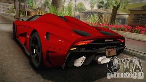 Koenigsegg Regera 2016 для GTA San Andreas вид сбоку