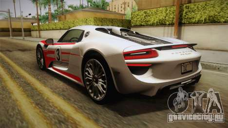 Porsche 918 Spyder 2013 Weissach Package EU для GTA San Andreas колёса