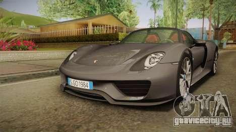 Porsche 918 Spyder 2013 Weissach Package EU для GTA San Andreas