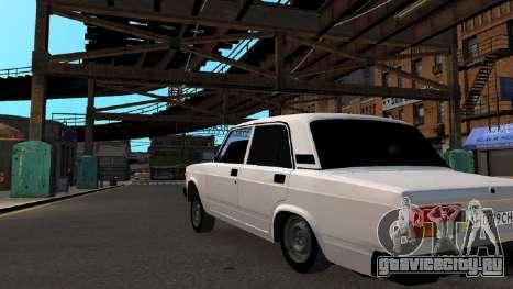 VAZ 2107 AZELOW для GTA 4 вид снизу