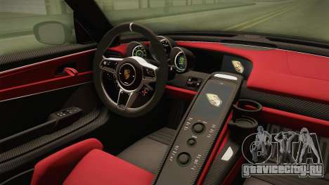Porsche 918 Spyder 2013 Weissach Package EU для GTA San Andreas вид изнутри