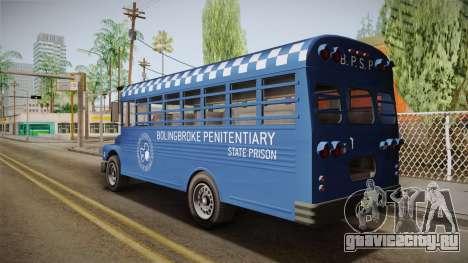 GTA 5 Vapid Police Prison Bus IVF для GTA San Andreas вид слева