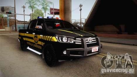 Toyota Hilux 2016 Patrulla Caminera Del Paraguay для GTA San Andreas вид справа