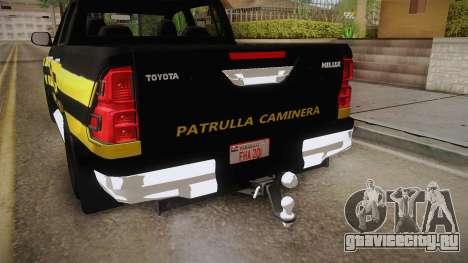 Toyota Hilux 2016 Patrulla Caminera Del Paraguay для GTA San Andreas вид сбоку
