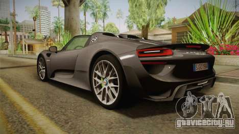 Porsche 918 Spyder 2013 Weissach Package EU для GTA San Andreas вид слева