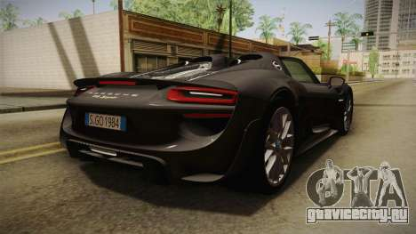 Porsche 918 Spyder 2013 Weissach Package EU для GTA San Andreas вид сзади слева