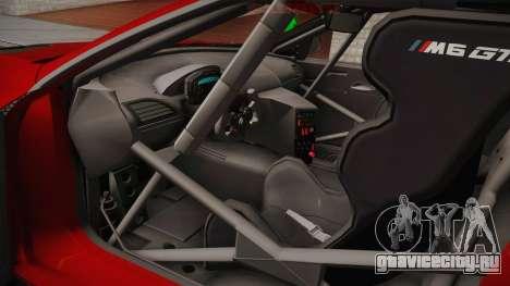 BMW M6 GT3 для GTA San Andreas вид изнутри