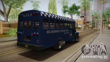 GTA 5 Vapid Police Prison Bus IVF для GTA San Andreas вид сзади слева