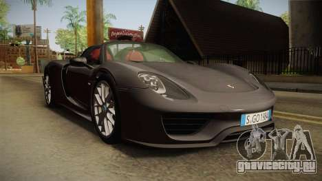 Porsche 918 Spyder 2013 Weissach Package EU для GTA San Andreas вид справа