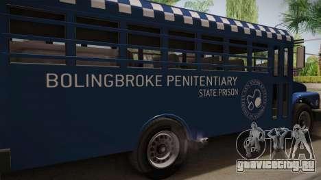 GTA 5 Vapid Police Prison Bus IVF для GTA San Andreas вид изнутри