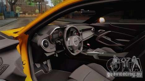 Chevrolet Camaro SS 2017 для GTA San Andreas вид изнутри