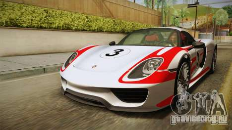 Porsche 918 Spyder 2013 Weissach Package EU для GTA San Andreas двигатель