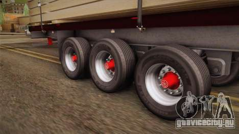 Flatbed Trailer Red для GTA San Andreas вид сзади
