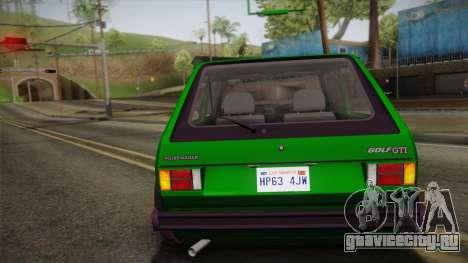 Volkswagen Golf Mk1 GTI для GTA San Andreas вид сбоку