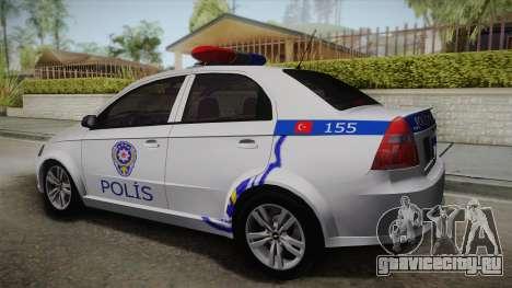 Chevrolet Aveo Turkish Police для GTA San Andreas вид слева